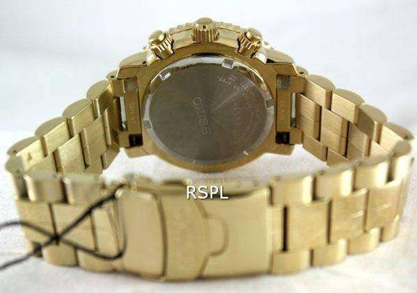 Seiko Alarm Chronograph Pilots Flightmaster Gold Plated SNA414P1 Watch
