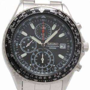 Seiko Chronograph Sliding Rule Pilots Flightmaster Mens Watch SND253P1