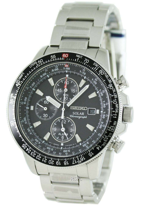 e7afa4f6fe6 Seiko Pilots Solar Alarm Chronograph Flightmaster SSC009P1 Mens Watch