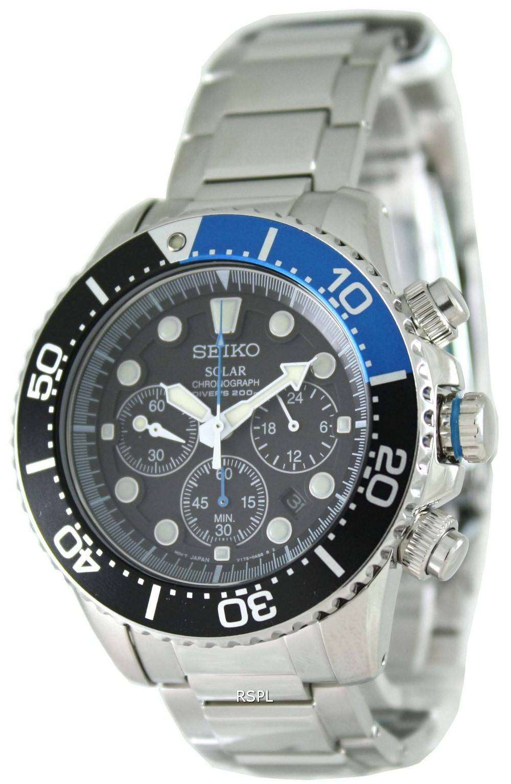 Tag Heuer Uk >> Seiko Solar Chronograph Divers SSC017P1 Mens Watch - CityWatches.co.uk
