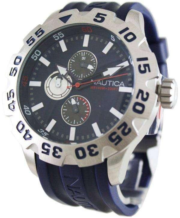 Nautica Mens N15578G BFD 100 Multifunction Navy Blue Resin Watch
