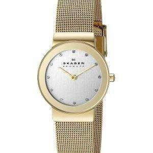Skagen Freja Gold Tone Mesh Bracelet Crystallized 358SGGD Womens Watch