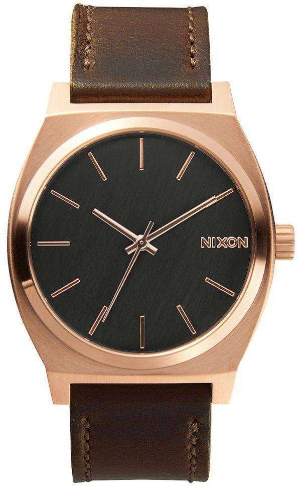Nixon Time Teller Rose Gold Brown Leather A045-2001-00 Mens Watch