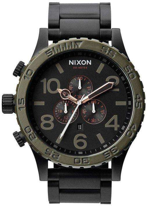 Nixon Matte Black Industrial Green Chronograph 300M A083-1530-00 Mens Watch