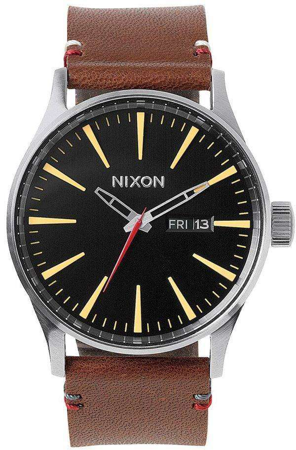 Nixon Quartz Sentry Brown Leather A105-019-00 Mens Watch