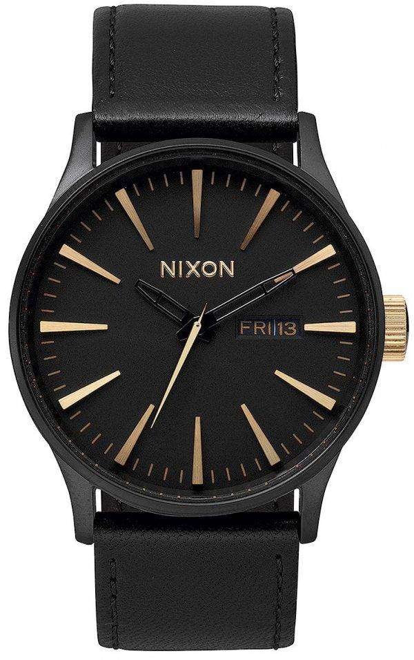 Nixon Quartz Sentry Black Leather A105-1041-00 Mens Watch