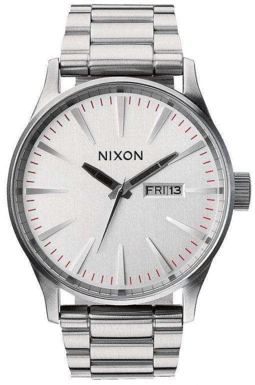 Nixon Sentry SS Silver Dial A356-130-00 Mens Watch