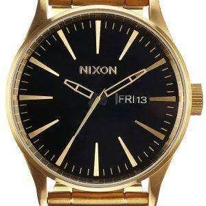 Nixon Sentry SS Gold Tone Black Dial A356-510-00 Mens Watch