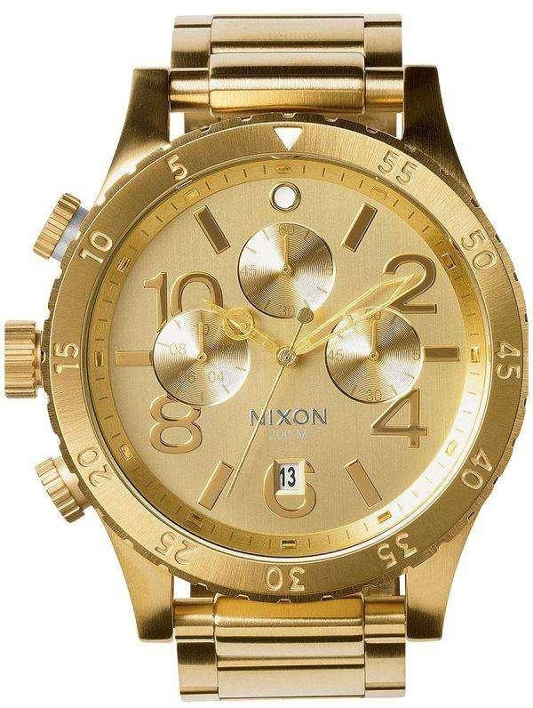 Nixon Quartz Chronograph All Gold 200M A486-502-00 Mens Watch