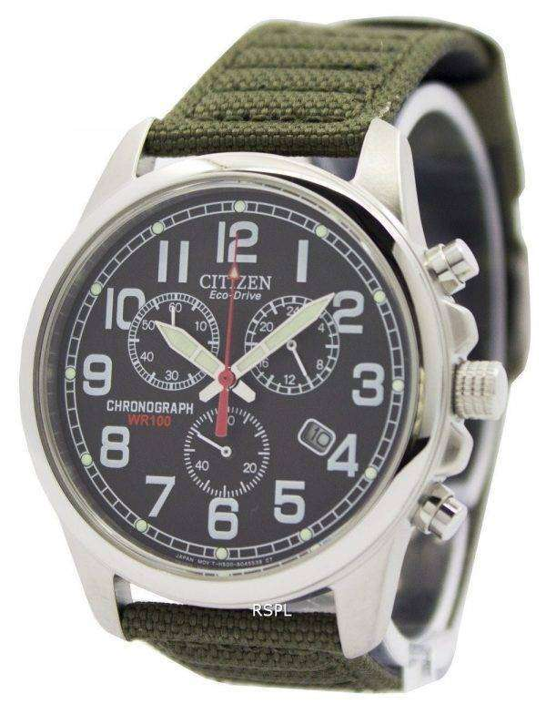 Citizen Eco-Drive Chronograph Green Canvas Strap 100M AT0200-05E Men's Watch