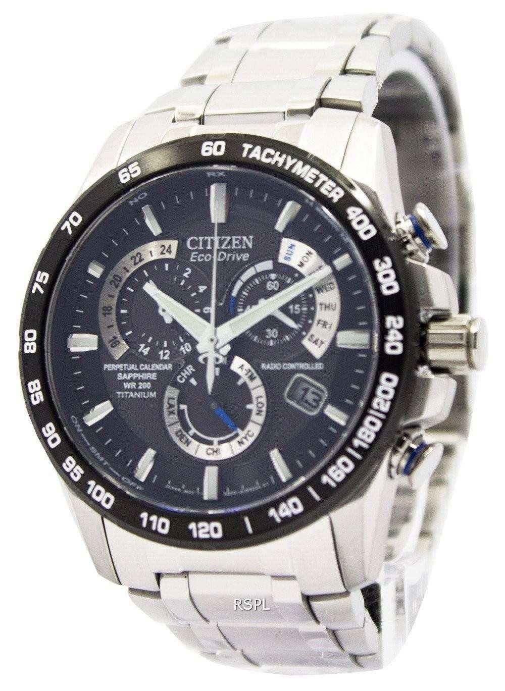 1b7e74b60bcf8 Citizen Eco-Drive Perpetual Calendar AT4010-50E Titanium Mens Watch ...