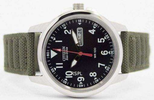 Citizen Eco-Drive Green Canvas Strap 100M BM8180-03E Men's Watch