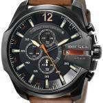 Diesel Mega Chief Black Dial Brown Leather DZ4343 Mens Watch