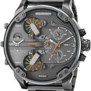 Diesel Daddies Gunmetal Ion-Plated Chronograph Four Time Zone Dial DZ7315 Mens Watch