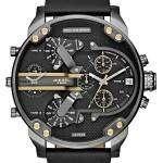 Diesel Mr. Daddy 2.0 Black Dial Black Leather DZ7348 Mens Watch