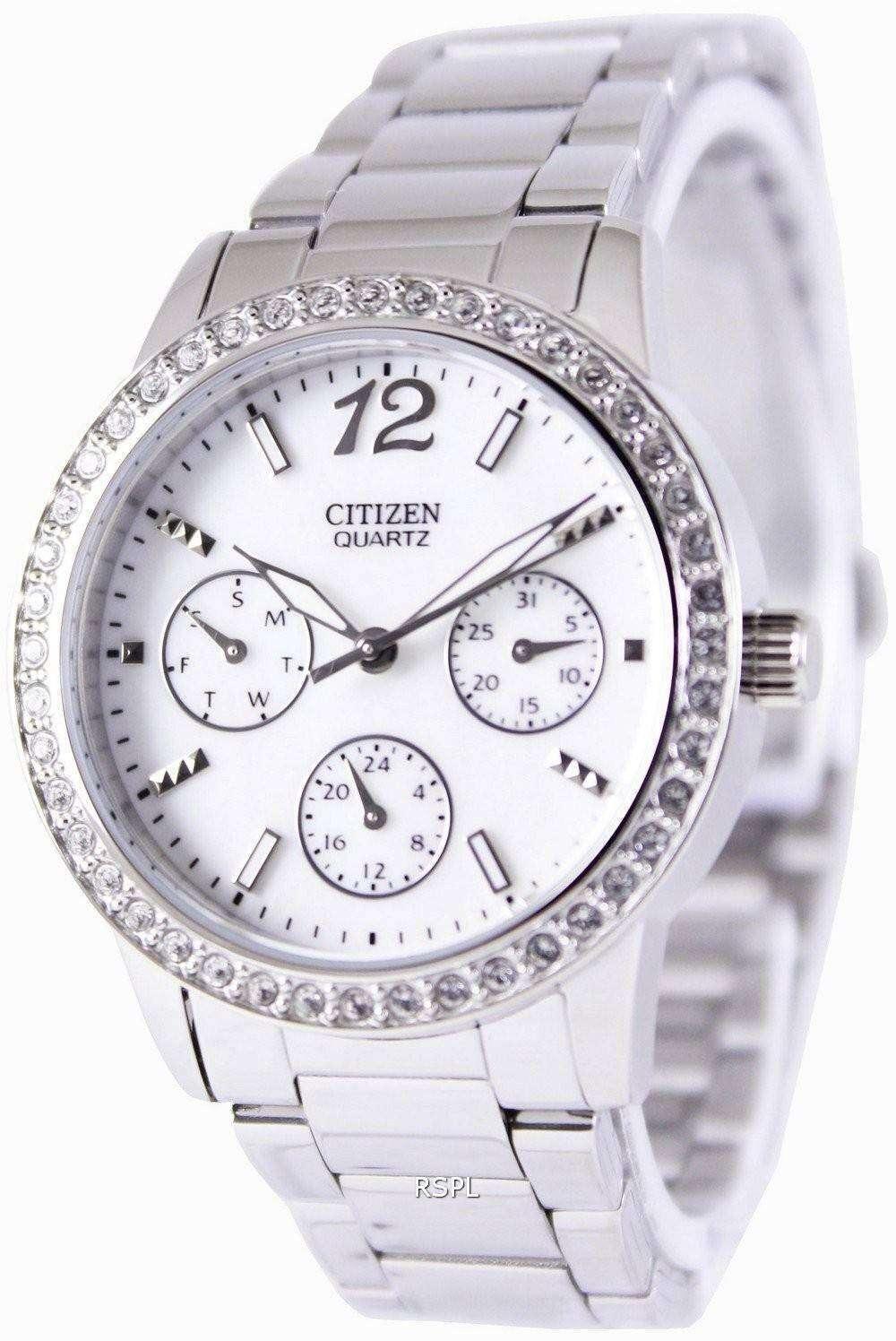 Citizen quartz swarovski crystals ed8090 53d womens watch for Swarovski crystals watch