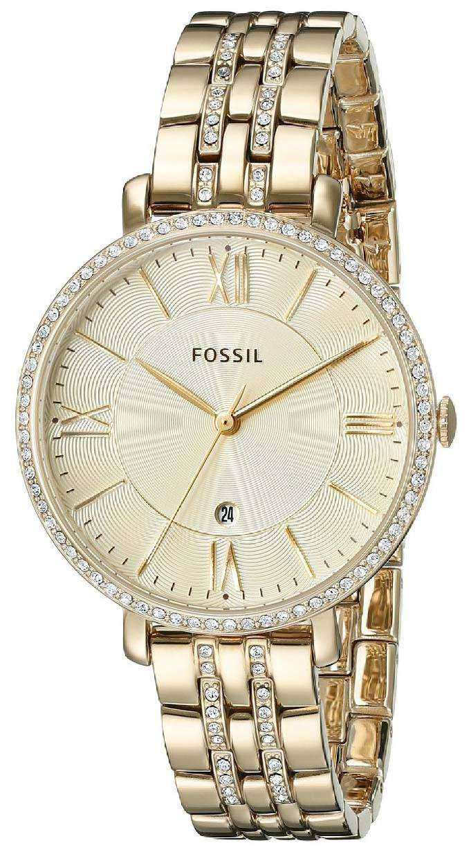 Fossil Jacqueline Champagne Dial Gold Tone Crystals Embellished Es3487 Original Es3547 Womens Watch