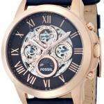 Fossil Grant Automatic Blue Skeleton Dial Blue Leather ME3029 Mens Watch