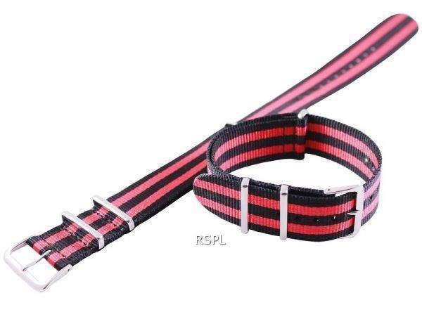 Red And Black Nato Strap 22mm For SKX007, SKX009, SKX011, SRP497, SRP641