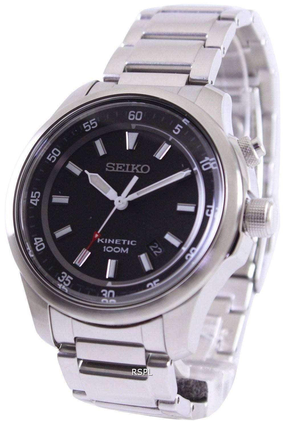 Seiko neo sports kinetic 100m black dial ska685p1 ska685p mens watch for Movado kinetic