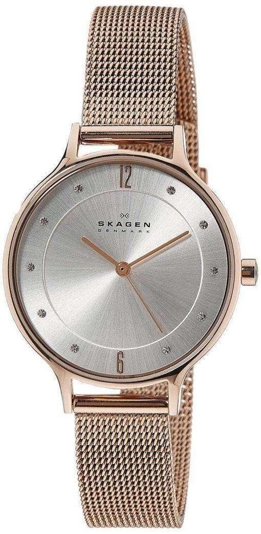 Skagen Anita Silver Dial Crystal Rose Gold-Tone Mesh Bracelet SKW2151 Womens Watch