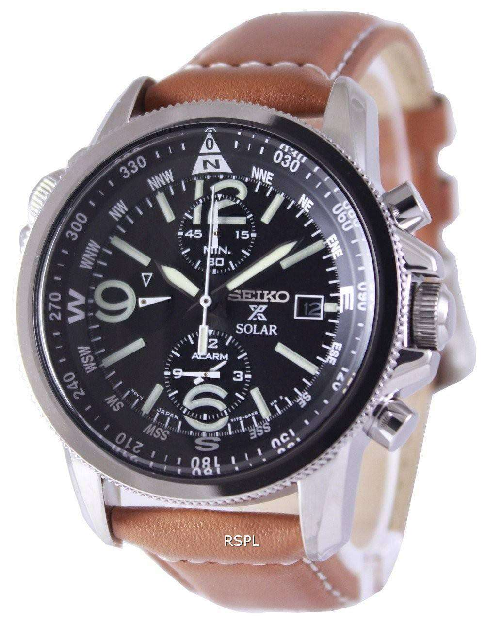 Seiko solar alarm chronograph ssc081 ssc081p1 ssc081p men 39 s watch for Solar watches