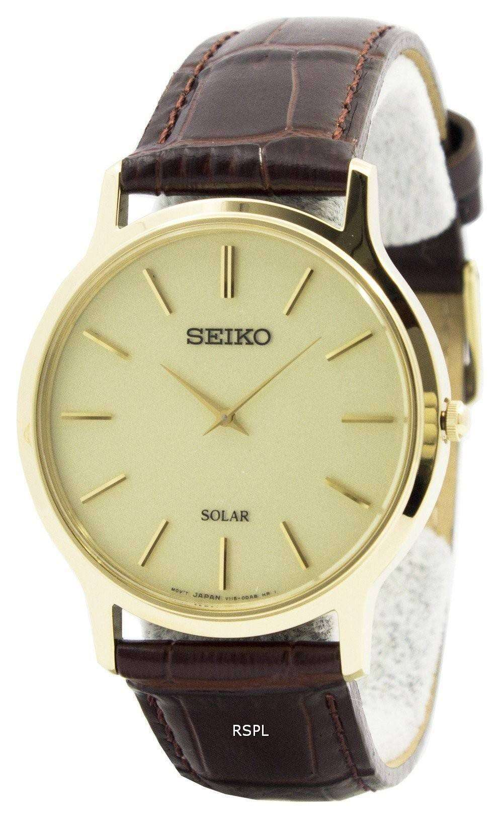 Tag Heuer Uk >> Seiko Solar Gold Tone Leather Strap SUP870P1 SUP870P Mens Watch - CityWatches.co.uk