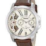 Fossil Grant Twist Multifunction Quartz Brown Leather Strap ME1144 Mens Watch