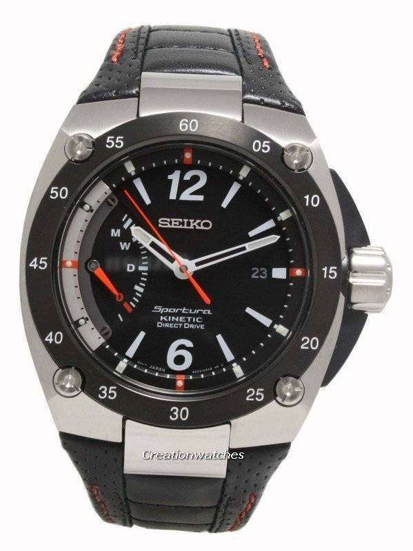 Seiko Men s Sportura Kinetic Direct Drive Watch with Leather Strap SRG005P2 0dd89312e4