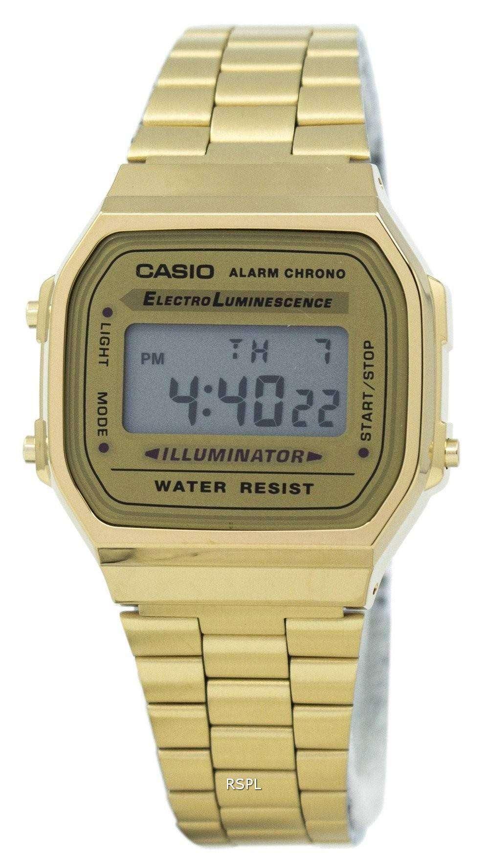 Casio Digital Alarm Chrono Stainless Steel A168WG-9WDF ...