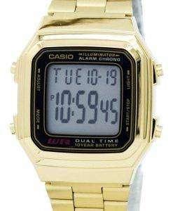 Casio Digital Stainless Steel Alarm Chrono Dual Time A178WGA-1ADF A178WGA-1A Mens Watch