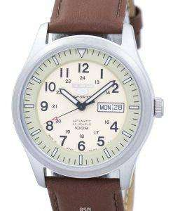 Seiko 5 Sports Military Automatic Japan Made Ratio Brown Leather SNZG07J1-LS12 Men's Watch