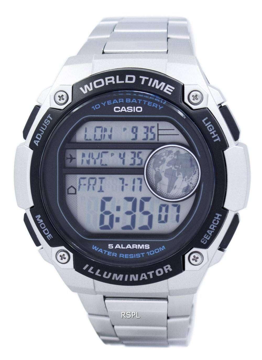 Casio Youth Illuminator World Time Digital AE-3000WD-1AV ...