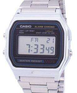 Casio Digital Stainless Steel Daily Alarm A158WA-1DF A158WA-1 Mens Watch
