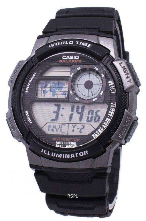 Casio Youth Series Digital World Time AE-1000W-1BVDF AE-1000W-1BV Mens Watch