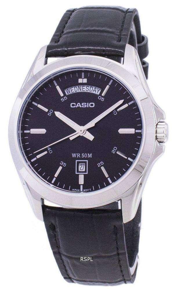 Casio Analog Black Dial MTP-1370L-1AVDF MTP-1370L-1AV Mens Watch