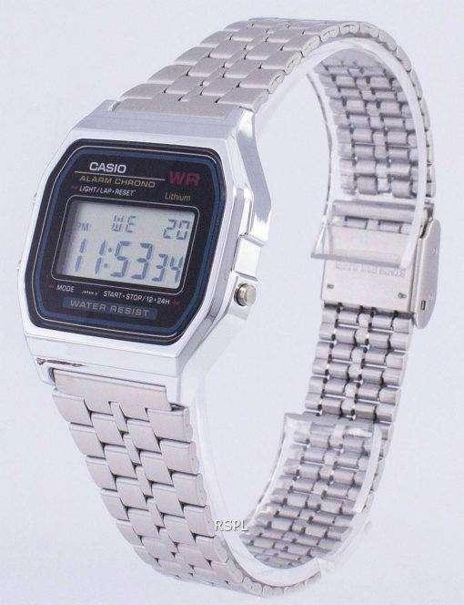 Casio Digital Alarm Chrono Stainless Steel A159WA-N1DF A159WA-N1 Mens Watch