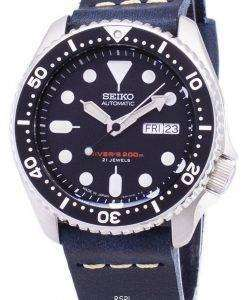 Seiko Automatic SKX007J1-LS15 Diver's 200M Japan Made Dark Blue Leather Strap Men's Watch