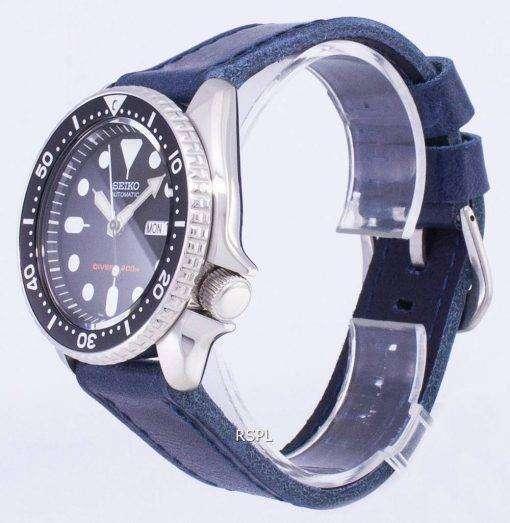 Seiko Automatic SKX007K1-LS13 Diver's 200M Dark Blue Leather Strap Men's Watch