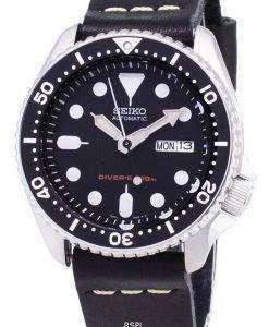 Seiko Automatic SKX007K1-LS14 Diver's 200M Black Leather Strap Men's Watch