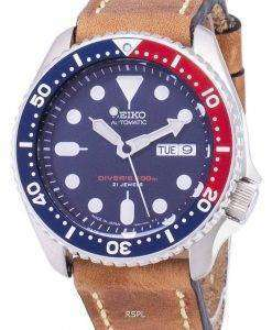 Seiko Automatic SKX009J1-LS17 Diver's 200M Japan Made Brown Leather Strap Men's Watch