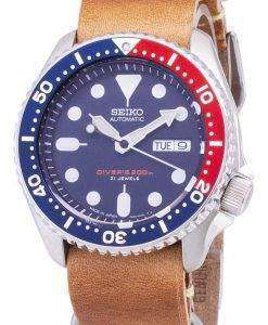 Seiko Automatic SKX009J1-LS18 Diver's 200M Japan Made Brown Leather Strap Men's Watch