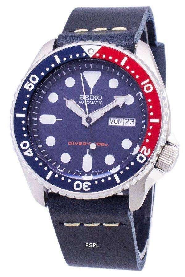 Seiko Automatic SKX009K1-LS15 Diver's 200M Dark Blue Leather Strap Men's Watch