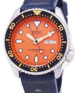 Seiko Automatic SKX011J1-LS13 Diver's 200M Dark Blue Leather Strap Men's Watch