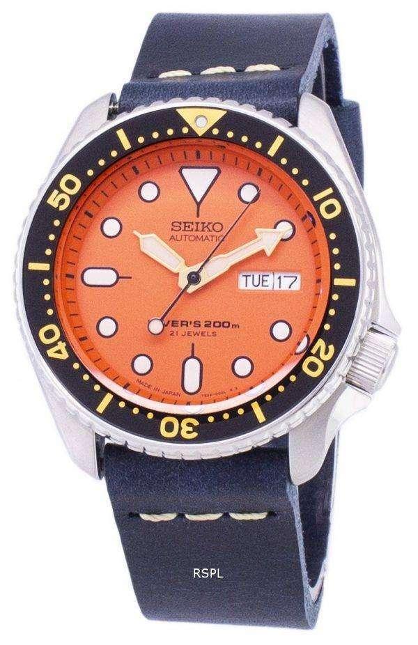 Seiko Automatic SKX011J1-LS15 Diver's 200M Dark Blue Leather Strap Men's Watch