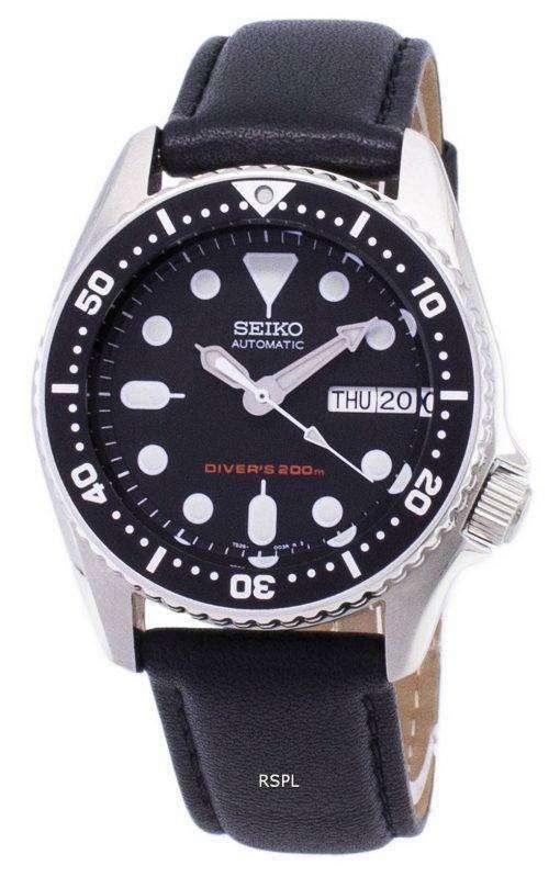 Seiko Automatic SKX013K1-MS5 Diver's 200M Black Leather Strap Men's Watch