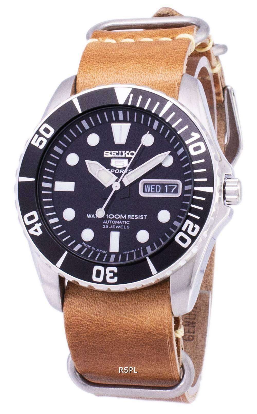 wholesale dealer 19195 7c062 Seiko 5 Sports SNZF17J1-LS18 Automatic Japan Made Brown Leather Strap Men's  Watch