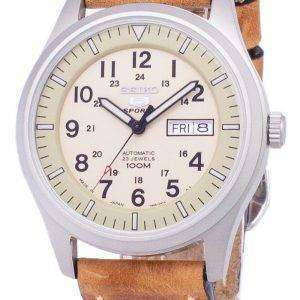 Seiko 5 Sports SNZG07J1-LS17 Military Japan Made Brown Leather Strap Men's Watch