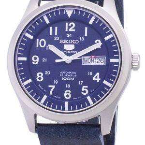 Seiko 5 Sports SNZG11J1-LS15 Automatic Dark Blue Leather Strap Men's Watch