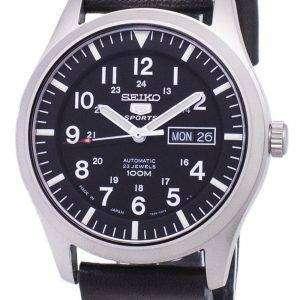 Seiko 5 Sports SNZG15J1-LS14 Japan Made Black Leather Strap Men's Watch